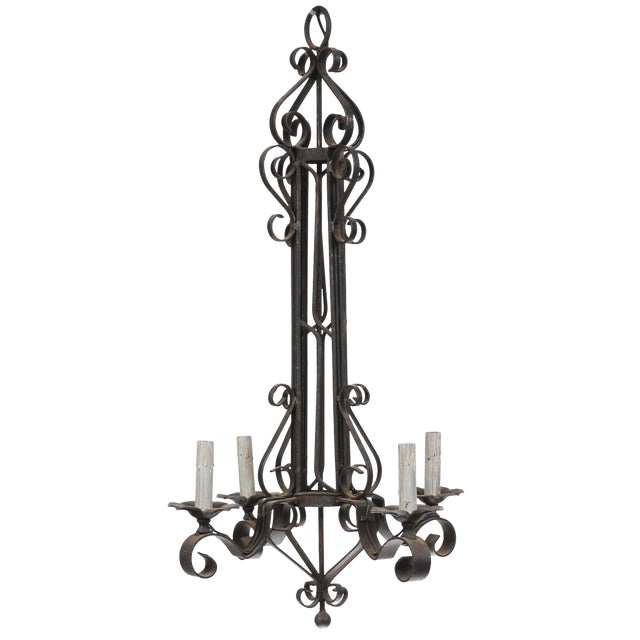 Tall French Four Light Black Iron C-Scrolled and S-Scrolled Chandelier For Sale