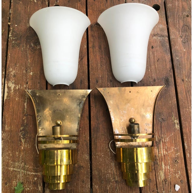 Art Deco Vintage Art Deco Gold and White Glass Theatre Sconces - a Pair For Sale - Image 3 of 13