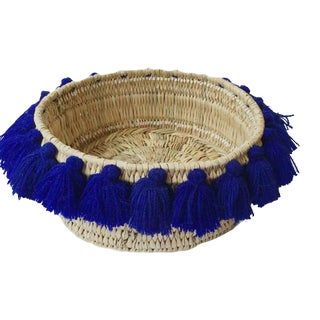 Moroccan Cobalt Blue Tassel Small Basket For Sale