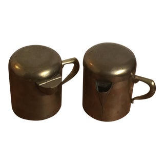 Solid Brass Creamer and Sugar Set by Taxco - A Pair For Sale