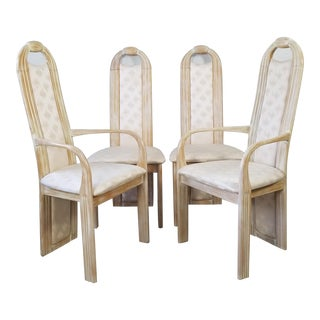Vintage Italian Tall Back Carved Wood Sculptural Dining Chairs - Set of 4 For Sale
