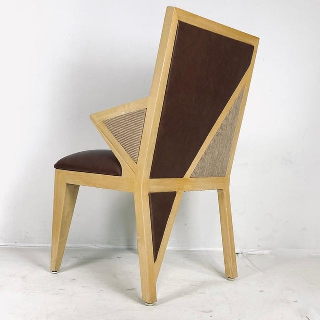Custom Postmodern Memphis Style Blonde Wood Dining or Occasional Chairs - Set of 10 For Sale - Image 9 of 12