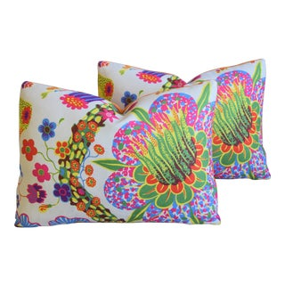 "Josef Frank Floral Linen Feather/Down Pillows 23"" X 17"" - Pair For Sale"