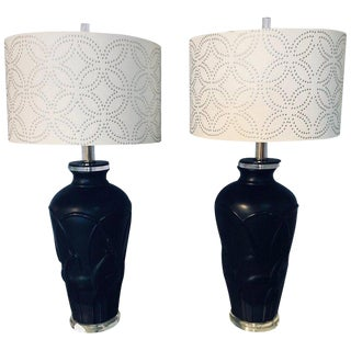 Art Deco Style Modern Black Table Lamps Lucite Base and Antelopes - a Pair For Sale