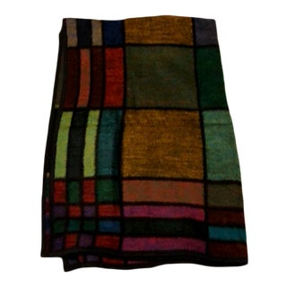 Vintage Mid-Century Modern Reversible Geometric Jeweled Tone Blanket / Throw For Sale