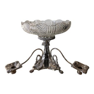 Mid 19th Century Antique English Silver Plate & Crystal Centerpiece For Sale
