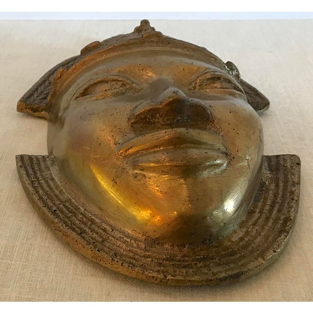 Vintage Brass African Mask For Sale In Dallas - Image 6 of 11