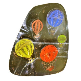 """Hot Air Balloons"" by Frances and Michael Higgins Fused Glass Vessel Ashtray 1960s"