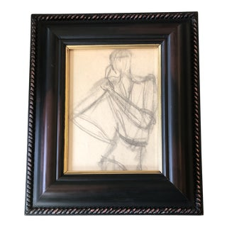 Original Vintage Abstract Figure Study Drawing Framed 1970's For Sale