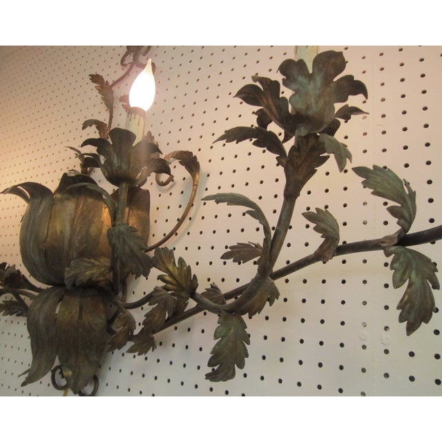 Large Brass Italian Gilded Lotus Wall Sconce - Image 6 of 6