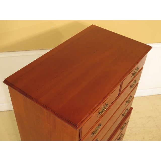 Hepplewhite Henkel Harris Solid Cherry Rafferty High Chest For Sale - Image 3 of 13