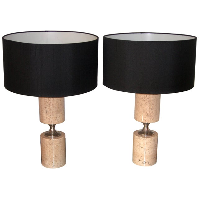 Pair of Travertine and Nickel Table Lamps Attributed to Maison Barbier For Sale In New York - Image 6 of 6