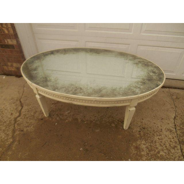 Arhaus Amelia Oval Antiqued Mirrored Top Cream Coffee Table   Image 3 Of 4