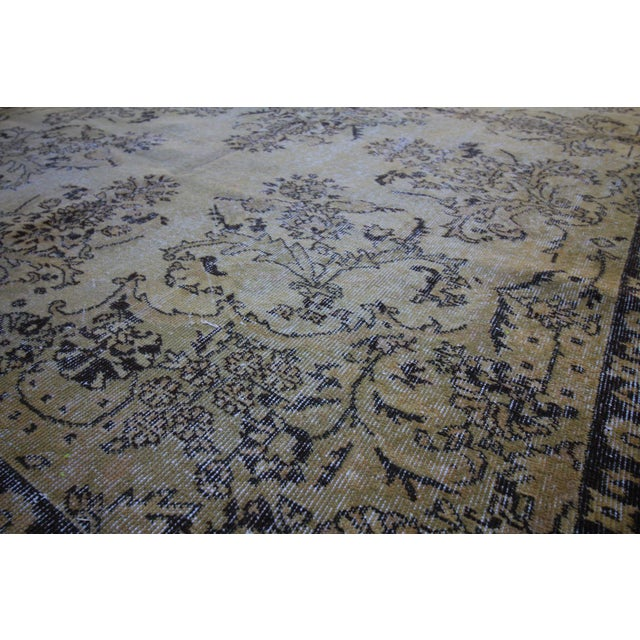"Vintage Distressed Overdyed Rug - 6'8"" X 10'4"" For Sale - Image 5 of 6"