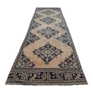 "Foyer Size Multi Color Vintage Hand Made Oushak Runner Rug With Modern Tribal Style 3'7"" X 12'3"" For Sale"