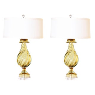 1950s Marbro Seguso Murano Glass Lamps - a Pair For Sale