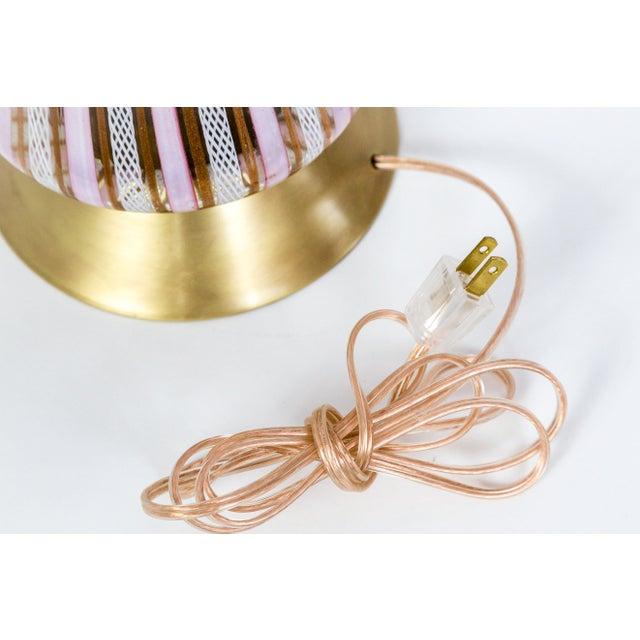 White Filigrana Aventurine Pink Glass Murano Lamp For Sale - Image 8 of 9