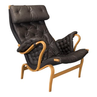 "Bruno Mathsson for Dux ""Pernilla"" Beech and Black Leather Lounge Chair For Sale"