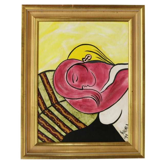 Picasso Style Woman With Yellow Hair Framed Painting after the original by Pablo Picasso (Spanish, 1881-1973), signed...
