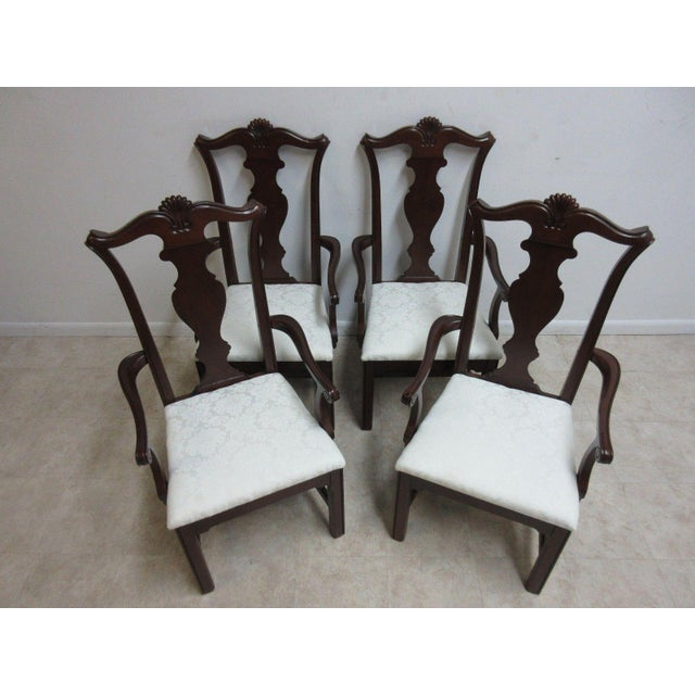 Chippendale Pennsylvania House Cherry Shell Carved Dining Room Arm Chairs - Set of 4 For Sale - Image 3 of 11
