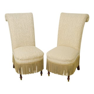 Design Masters High Rolled Back Slipper Chairs - A Pair