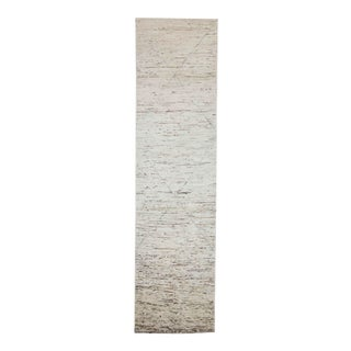 Afghan Moroccan Style Runner Rug in Ivory With Blue Lines & Brown Streaks For Sale