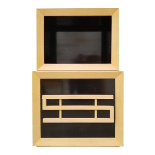 Storage or China Cabinet with Two-Tone Black Lacquer Finish For Sale
