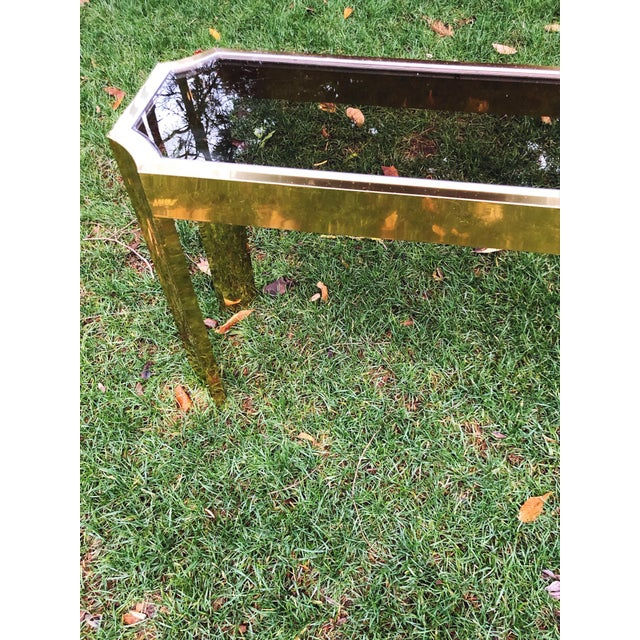 Metal 1970's Baughman Style Brass and Smoked Glass Console Table For Sale - Image 7 of 10
