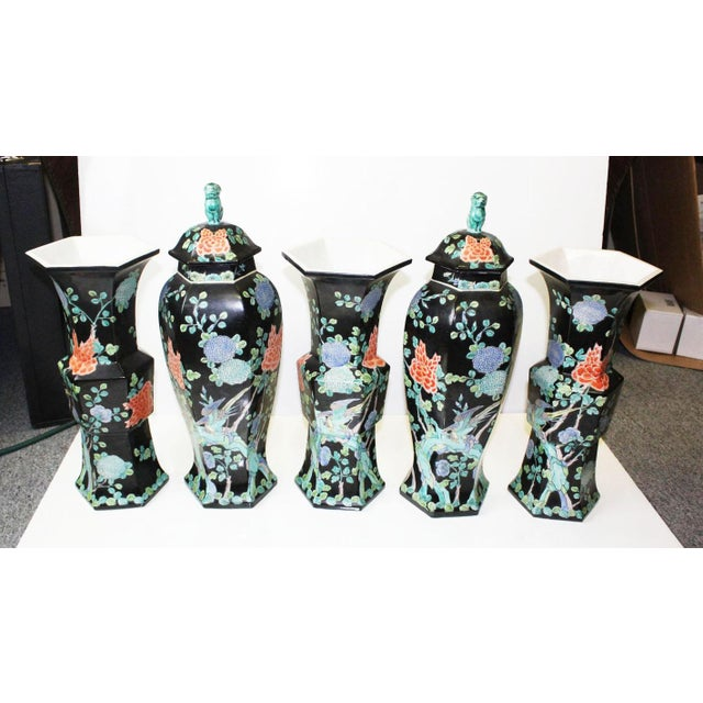Chinese Garniture Black Vases - 5 Pieces For Sale - Image 9 of 9