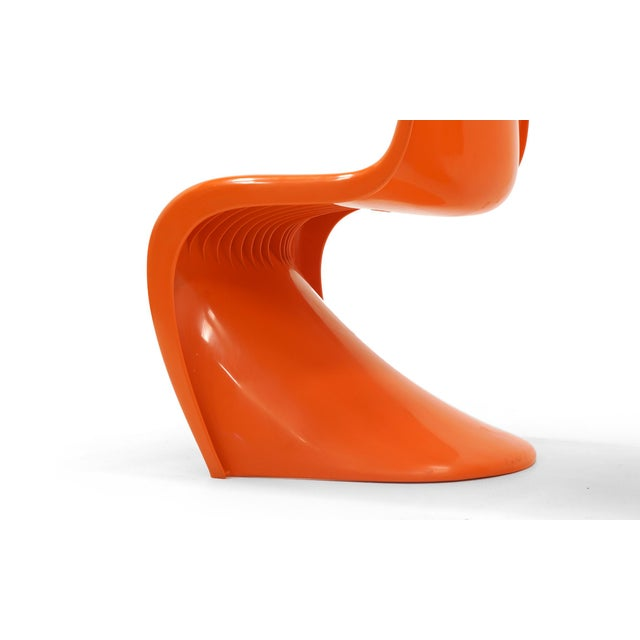 Set of Seven Orange Verner Panton S Chairs, Early Herman Miller Production For Sale - Image 9 of 10