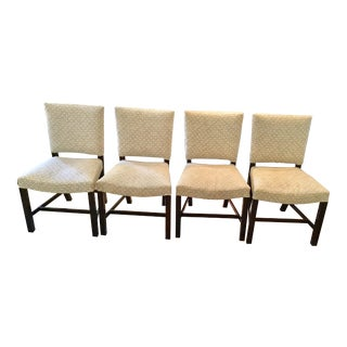 1960s Vintage Transitional Walnut Side Chairs - Set of 4 For Sale