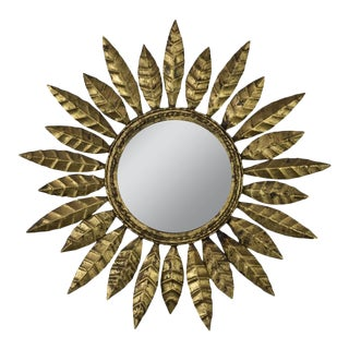 Round Gilt Iron Sunburst Mirror For Sale