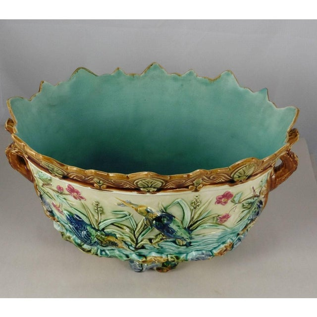 Aesthetic Movement 19th Century Majolica Pond W. Kingfishers Jardiniere, Onnaing For Sale - Image 3 of 5