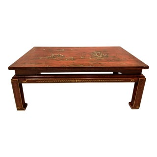 Early 20th-C. Red Chinoiserie Coffee Table For Sale