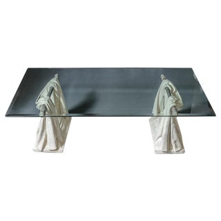 Hollywood Regency Rare Drapery Base Coffee Table For Sale
