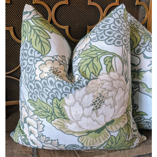 Asian Chinoiserie Honshu by Thibaut Pillows - a Pair For Sale - Image 3 of 4