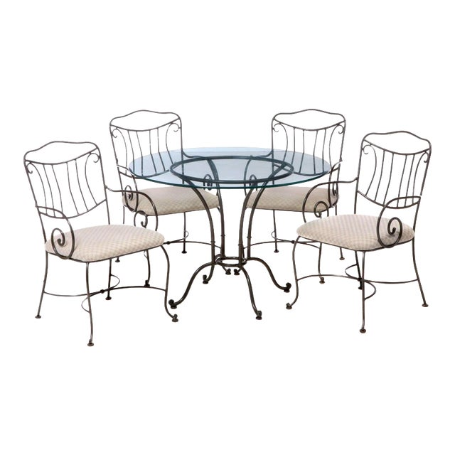 Vintage Chromcraft Wrought Metal and Glass Dining Set - 5 Pieces For Sale