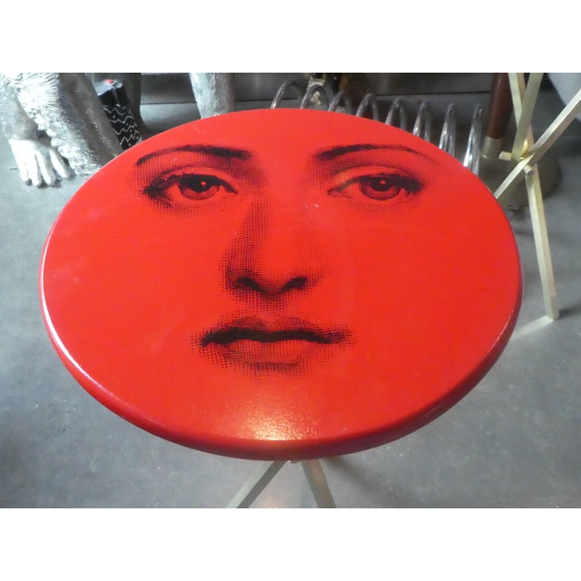 Mid-Century Modern 1970s Vintage Fornasetti Red Julia Side Table For Sale - Image 3 of 13