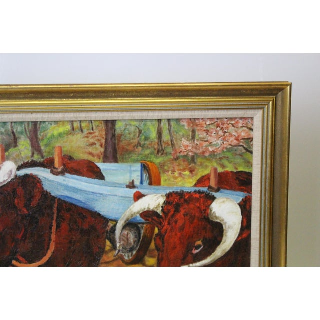 Mid 20th Century Ede-Else Oxen Oil Painting on Canvas For Sale - Image 5 of 7
