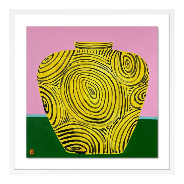 Yellow Vase by Jelly Chen in White Framed Paper, Medium Art Print For Sale