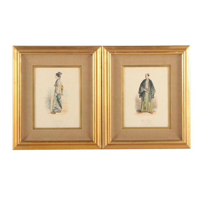 Vintage 19th Century Japanese Costumes Hand Colored French Intaglio Prints - a Pair For Sale - Image 11 of 11