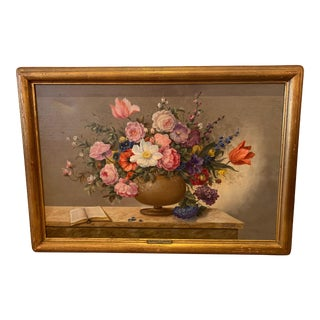 French Floral Still Life Painting on Canvas by Corbe For Sale