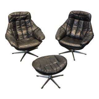 Pair of 1970's Danish Leather Lounge Chairs and Ottoman by h.w. Klein for Bramin