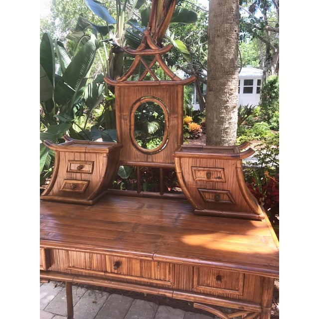 Vintage Bamboo Pagoda Vanity Table - Image 3 of 7