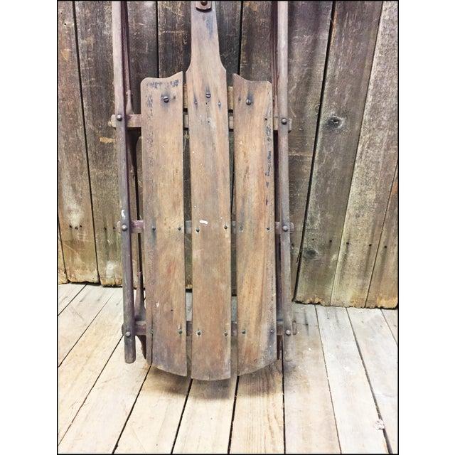 Vintage Weathered Wood & Metal Runner Sled - Image 7 of 11