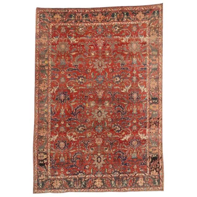 1940s Vintage Persian Tabriz Area Rug - 7′3″ × 10′5″ For Sale