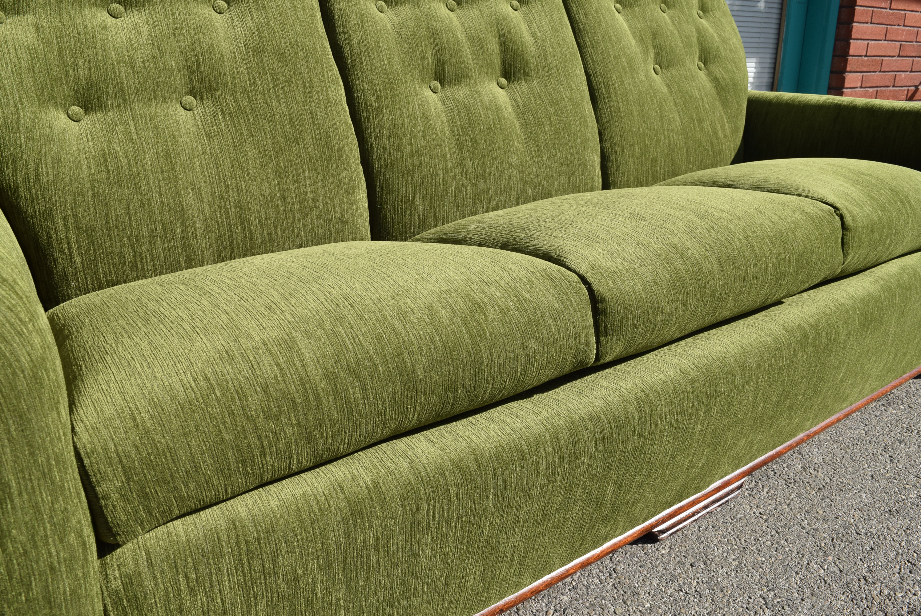 Vintage Art Deco Modern Green Velvet Sofa U0026 Chair   A Pair   Image 7 Of