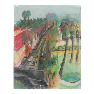 Vintage Pastel Drawing of Los Angeles Boulevard For Sale