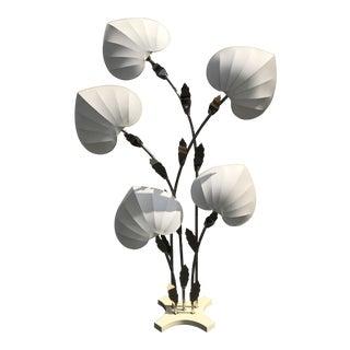 Antonio Pavia Brass Bamboo Floor Lamp With Leaf Motif Shades