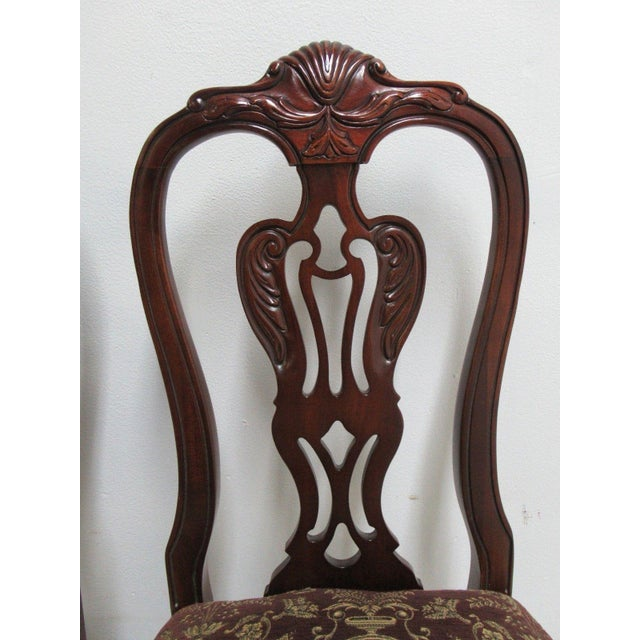Thomasville Thomasville Solid Mahogany Chippendale Dining Chairs - A Pair For Sale - Image 4 of 10